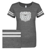 ENZA Ladies Dark Heather/White Vintage Triblend Football Tee-Bear Head White Soft Glitter