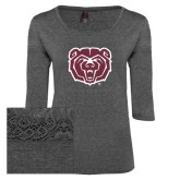 Ladies Charcoal Heather Tri Blend Lace 3/4 Sleeve Tee-Bear Head