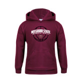 Youth Maroon Fleece Hoodie-Missouri State Basketball Arched w/ Ball