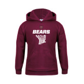 Youth Maroon Fleece Hoodie-Bears Basketball Hanging Net