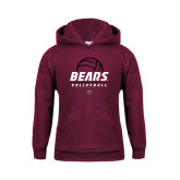 Youth Maroon Fleece Hoodie-Bears Volleyball Stacked