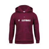 Youth Maroon Fleece Hoodie-Volleyball w/ Ball