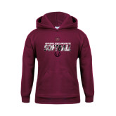 Youth Maroon Fleece Hoodie-Softball Distressed Texture