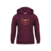 Youth Maroon Fleece Hoodie-Bear Head