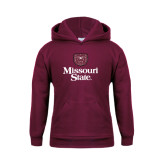 Youth Maroon Fleece Hoodie-Bear Head Missouri State Stacked