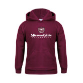 Youth Maroon Fleece Hoodie-Missouri State University Stacked w/ Bear Head