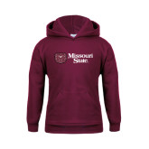 Youth Maroon Fleece Hoodie-Horizontal Missouri State w/ Bear Head