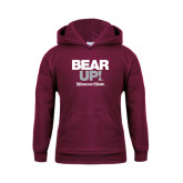 Youth Maroon Fleece Hoodie-Bear Up!