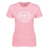 Ladies Pink T-Shirt-Bear Head