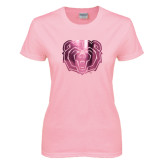 Ladies Pink T Shirt-Bear Head Foil