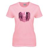 Ladies Pink T-Shirt-Bear Head Foil