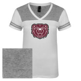 Ladies White/Heathered Nickel Juniors Varsity V Neck Tee-Bear Head