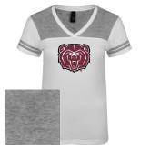 Ladies White/Heathered Nickel Juniors Varsity V Neck Tee-Bear Head
