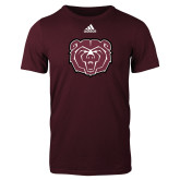 Adidas Maroon Logo T Shirt-Bear Head