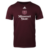 Adidas Maroon Logo T Shirt-Bear Head Missouri State Stacked