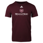 Adidas Maroon Logo T Shirt-Missouri State University Stacked w/ Bear Head