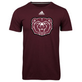 Adidas Climalite Maroon Ultimate Performance Tee-Bear Head