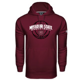 Under Armour Maroon Performance Sweats Team Hoodie-Missouri State Basketball Arched w/ Ball