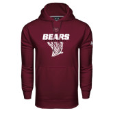 Under Armour Maroon Performance Sweats Team Hoodie-Bears Basketball Hanging Net