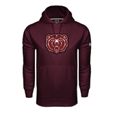 Under Armour Maroon Performance Sweats Team Hoodie-Bear Head