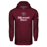 Under Armour Maroon Performance Sweats Team Hoodie-Bear Head Missouri State Stacked