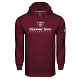 Under Armour Maroon Performance Sweats Team Hoodie-Missouri State University Stacked w/ Bear Head