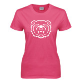 Ladies Fuchsia T Shirt-Bear Head