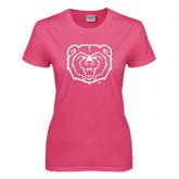 Ladies Fuchsia T Shirt-Bear Head