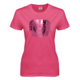 Ladies Fuchsia T Shirt-Bear Head Foil