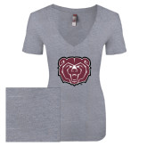 Next Level Ladies Vintage Heather Tri Blend V Neck Tee-Bear Head