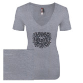 Next Level Ladies Vintage Heather Tri Blend V Neck Tee-Bear Head Graphite Glitter