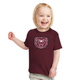 Toddler Maroon T Shirt-Bear Head