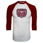 White/Maroon Raglan Baseball T Shirt-Bear Head