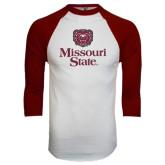 White/Maroon Raglan Baseball T Shirt-Bear Head Missouri State Stacked