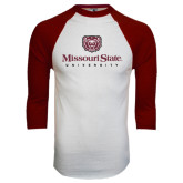 White/Maroon Raglan Baseball T Shirt-Missouri State University Stacked w/ Bear Head