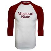 White/Maroon Raglan Baseball T Shirt-Missouri State