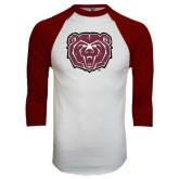 White/Maroon Raglan Baseball T Shirt-Bear Head Distressed