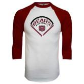 White/Maroon Raglan Baseball T Shirt-Bears Baseball Arched in Diamond