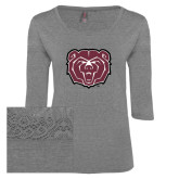 Ladies Grey Heather Tri Blend Lace 3/4 Sleeve Tee-Bear Head
