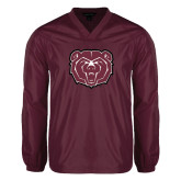 V Neck Maroon Raglan Windshirt-Bear Head