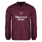 V Neck Maroon Raglan Windshirt-Bear Head Missouri State Stacked
