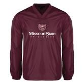 V Neck Maroon Raglan Windshirt-Missouri State University Stacked w/ Bear Head