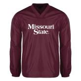 V Neck Maroon Raglan Windshirt-Missouri State