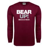 Maroon Long Sleeve T Shirt-Bear Up!