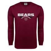Maroon Long Sleeve T Shirt-Bears Football Stacked