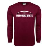 Maroon Long Sleeve T Shirt-Missouri State Football w/ Ball