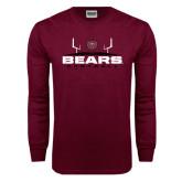 Maroon Long Sleeve T Shirt-Bears Football w/ Field