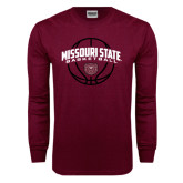 Maroon Long Sleeve T Shirt-Missouri State Basketball Arched w/ Ball