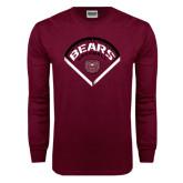 Maroon Long Sleeve T Shirt-Bears Baseball Arched in Diamond