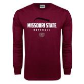 Maroon Long Sleeve T Shirt-Missouri State Baseball Stacked
